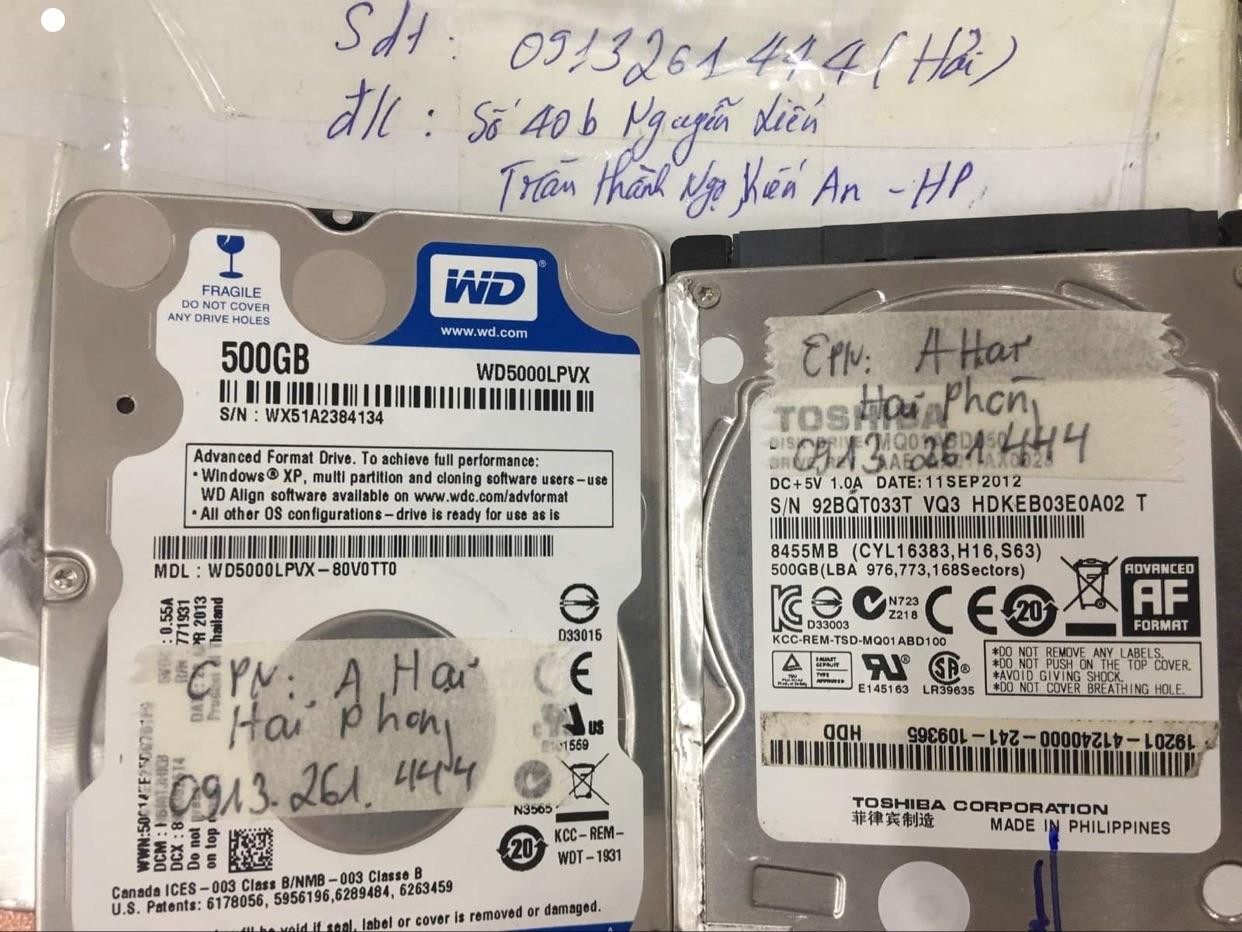 Lấy dữ liệu ổ cứng Toshiba 500GB lỗi cơ tại Hải Phòng 15/08/2020 - cuumaytinh