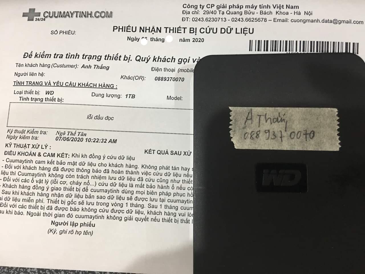 Lấy dữ liệu ổ cứng Western 1TB lỗi đầu đọc 05/08/2020 - cuumaytinh