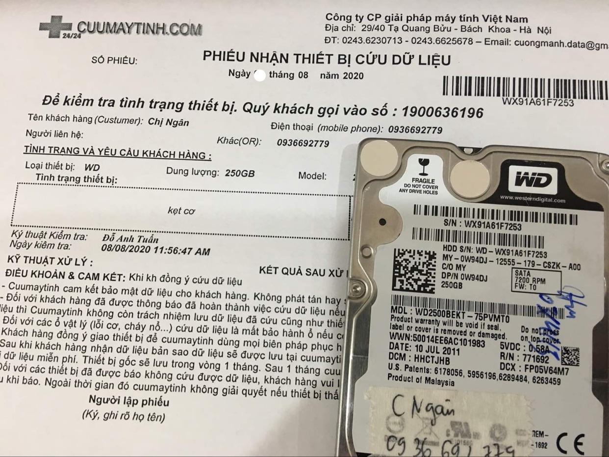 Lấy dữ liệu ổ cứng Western 250GB kẹt cơ 07/08/2020 - cuumaytinh