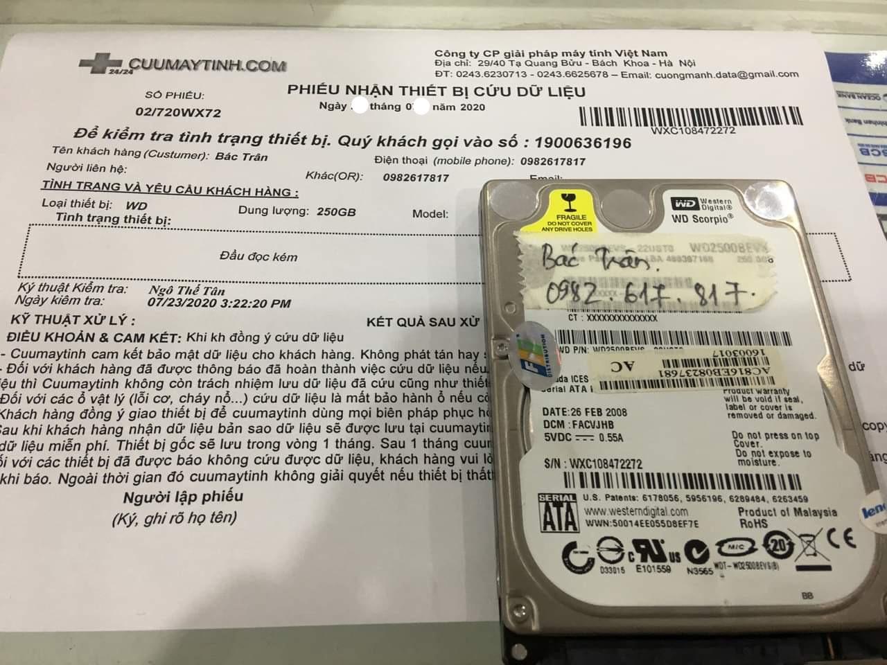 Lấy dữ liệu ổ cứng Western 250GB đầu đọc kém 03/08/2020 - cuumaytinh