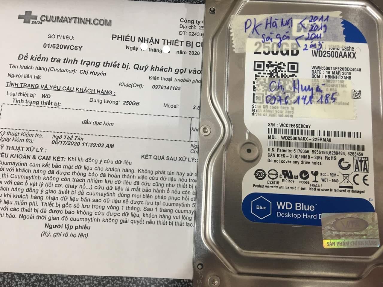 Lấy dữ liệu ổ cứng Western 250GB đầu đọc kém 10/08/2020 - cuumaytinh