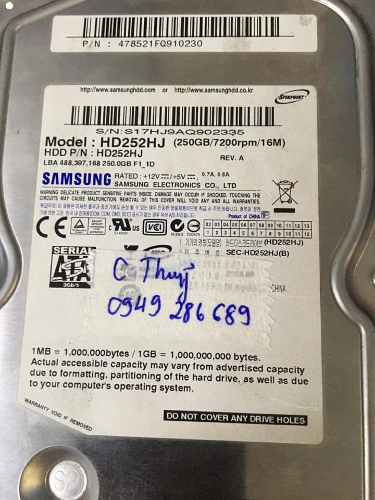Phục hồi dữ liệu ổ cứng Samsung 250GB đầu đọc kém 22/08/2020 - cuumaytinh