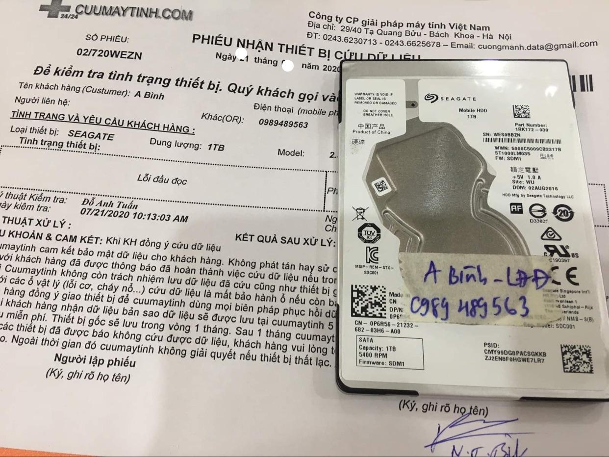 Phục hồi dữ liệu ổ cứng Seagate 1TB lỗi đầu đọc 04/08/2020 - cuumaytinh
