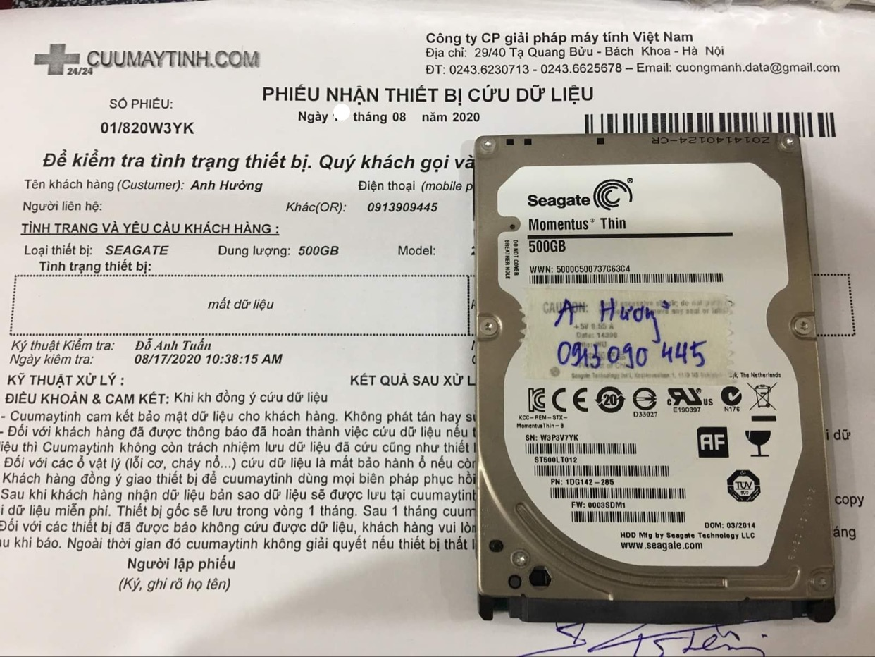 Phục hồi dữ liệu ổ cứng Seagate 500GB format nhầm 20/08/2020 - cuumaytinh