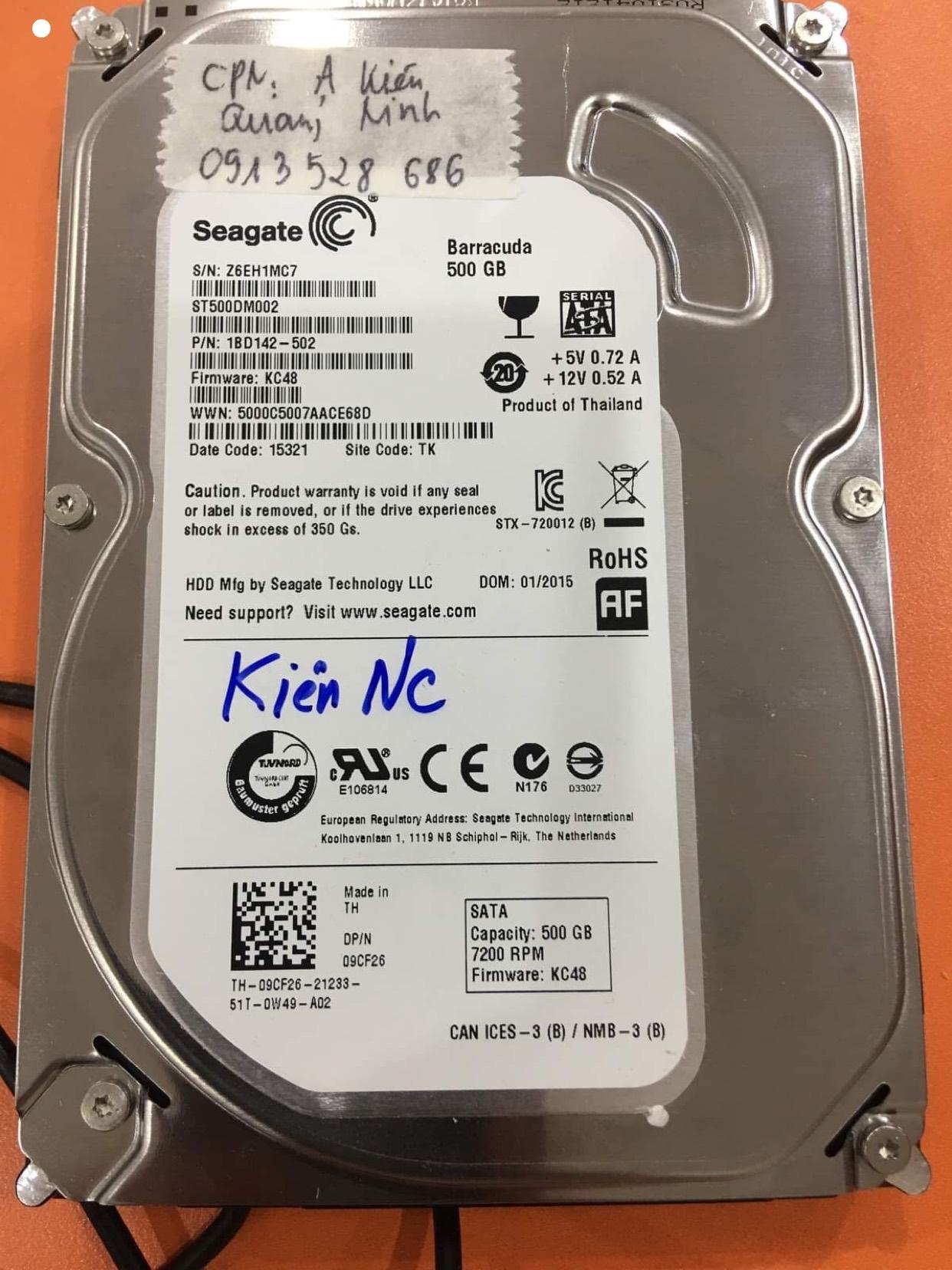 Phục hồi dữ liệu ổ cứng Seagate 500GB lỗi cơ tại Quảng Ninh 14/08/2020 - cuumaytinh