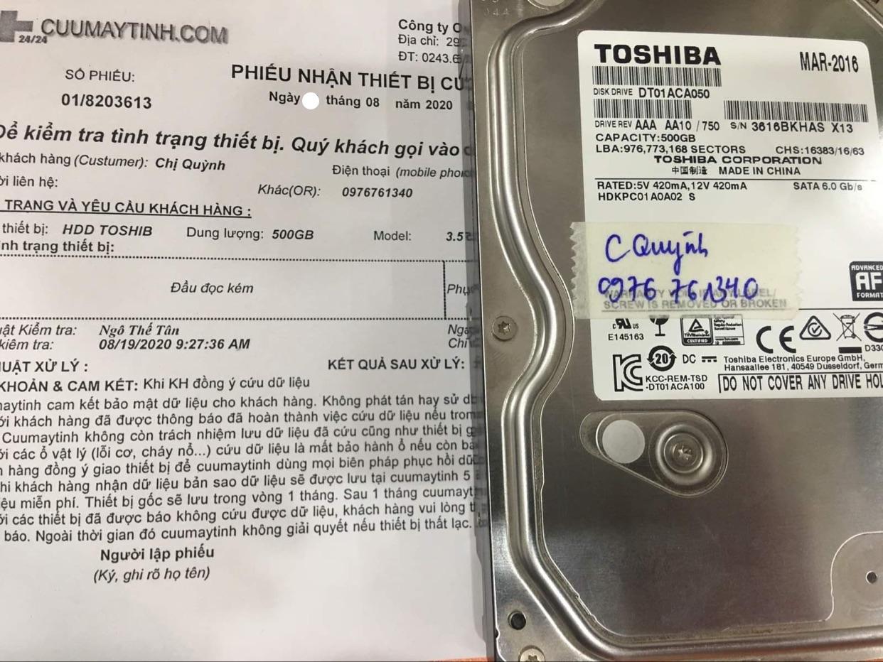 Phục hồi dữ liệu ổ cứng Toshiba 500GB đầu đọc kém 24/08/2020 - cuumaytinh
