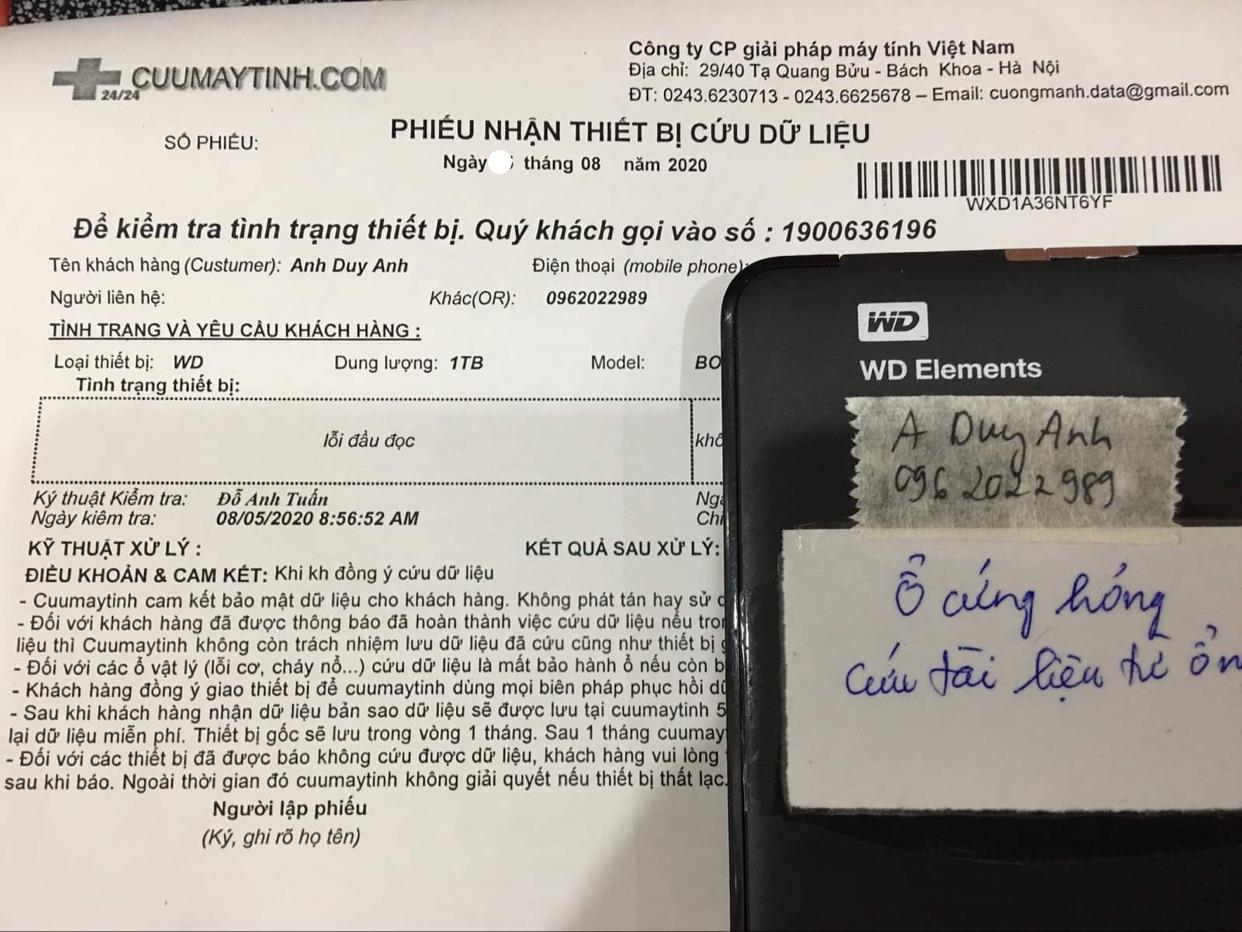 Phục hồi dữ liệu ổ cứng Western 1TB lỗi đầu đọc 13/08/2020 - cuumaytinh