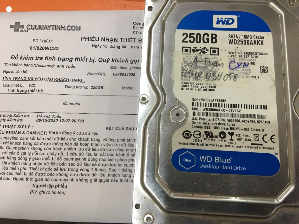 Phục hồi dữ liệu ổ cứng Western 250GB không nhận 15/08/2020 - cuumaytinh