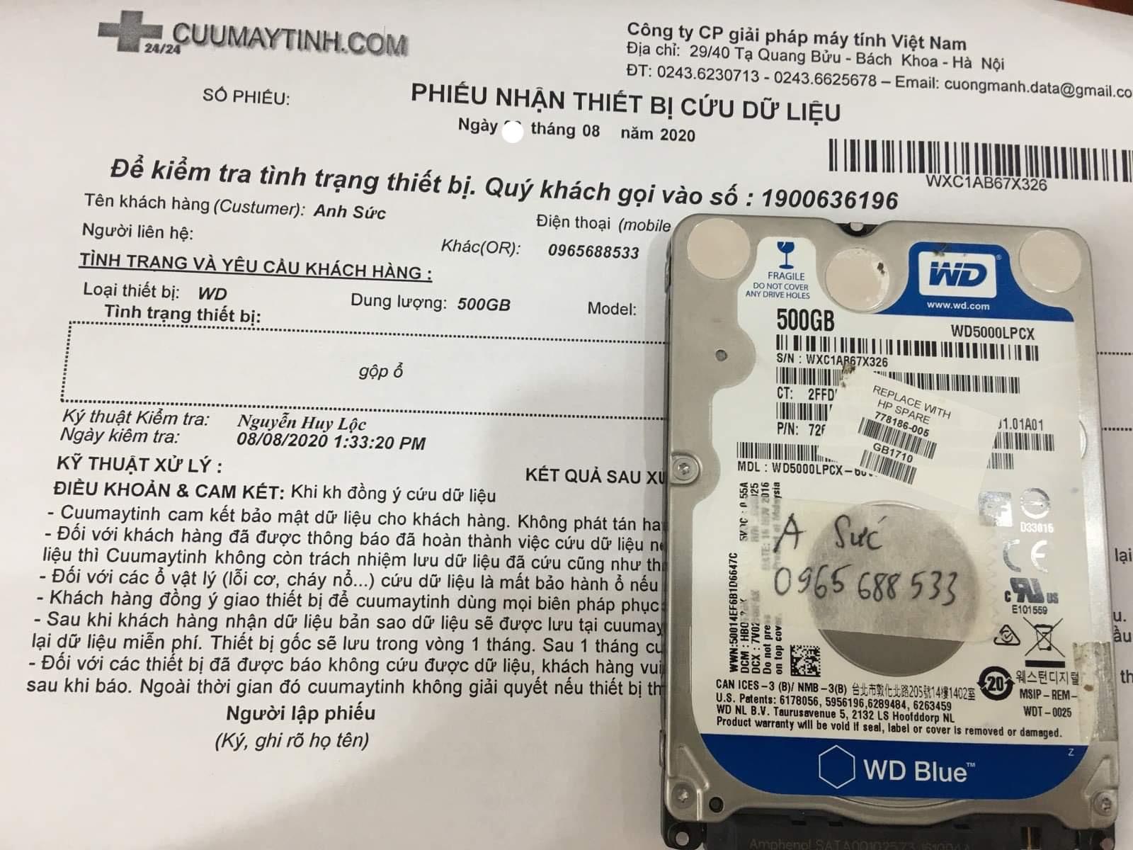 Phục hồi dữ liệu ổ cứng Western 500GB gộp ổ 06/08/2020 - cuumaytinh