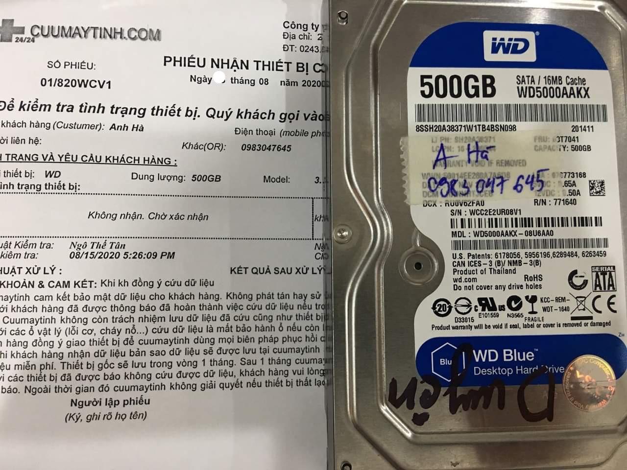 Phục hồi dữ liệu ổ cứng Western 500GB không nhận 18/08/2020 - cuumaytinh