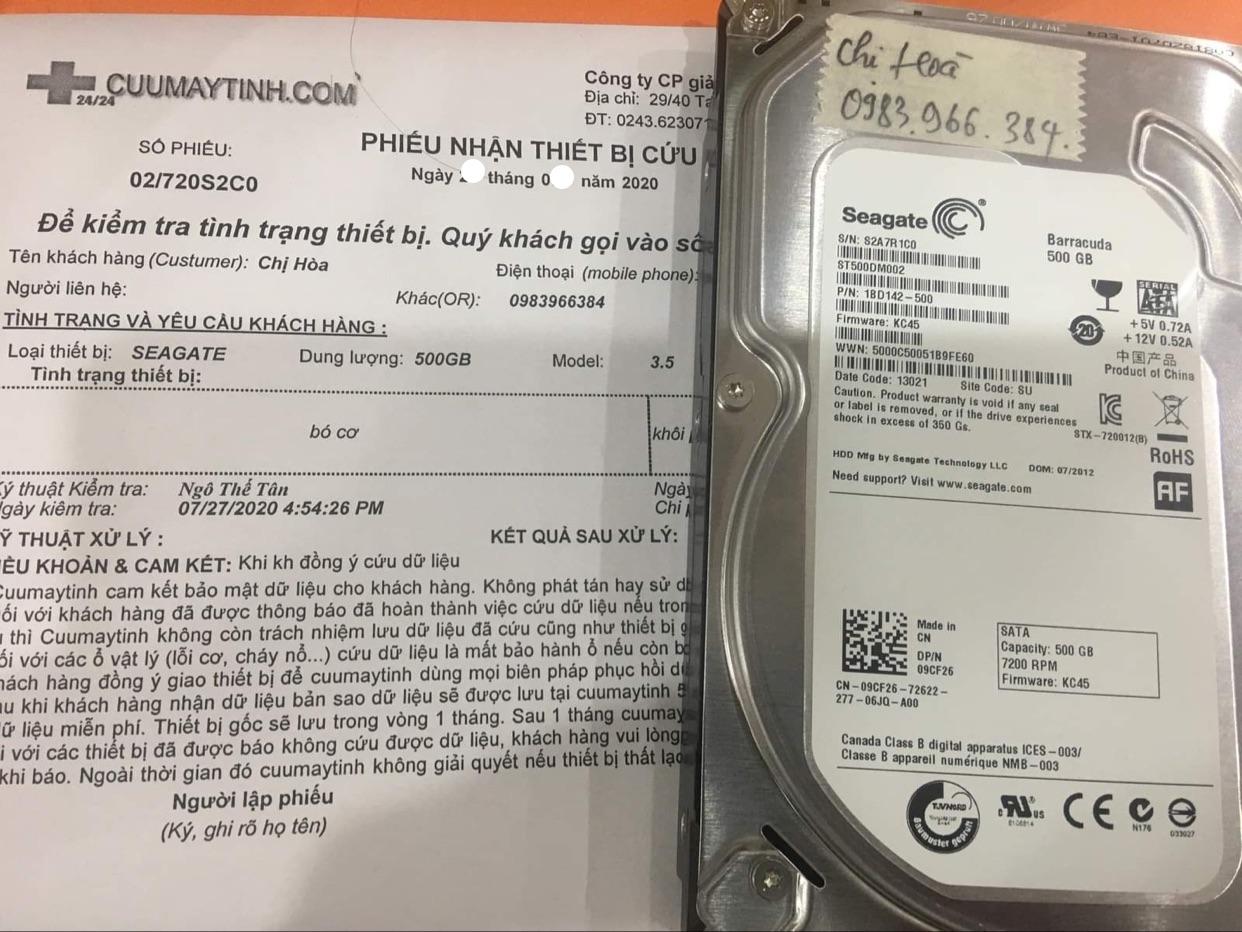 Lấy dữ liệu ổ cứng Seagate 500GB bó cơ 01/08/2020 - cuumaytinh