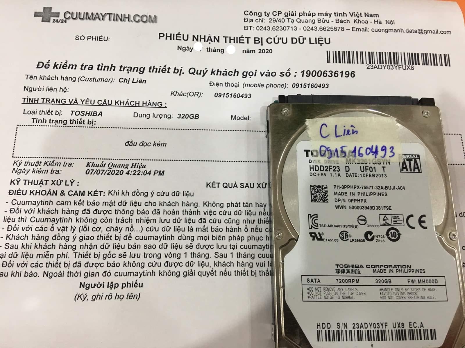 Lấy dữ liệu ổ cứng Toshiba 320GB đầu đọc kém 06/08/2020 - cuumaytinh