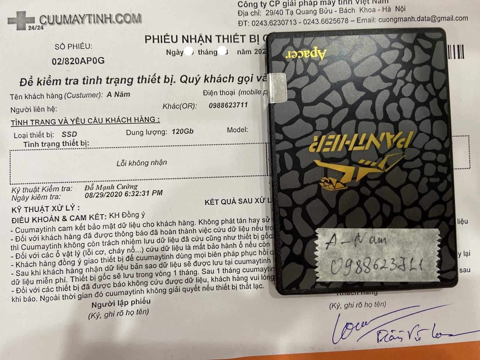 Cứu dữ liệu ổ cứng SSD Apacer 120GB không nhận 16/09/2020 - cuumaytinh