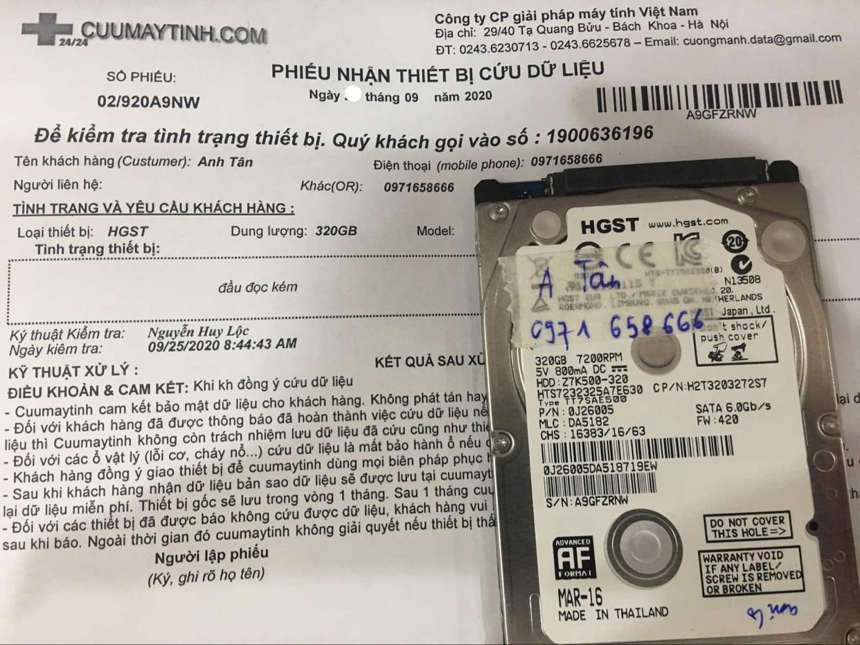 Cứu dữ liệu ổ cứng HGST 320GB đầu đọc kém 24/09/2020 - cuumaytinh