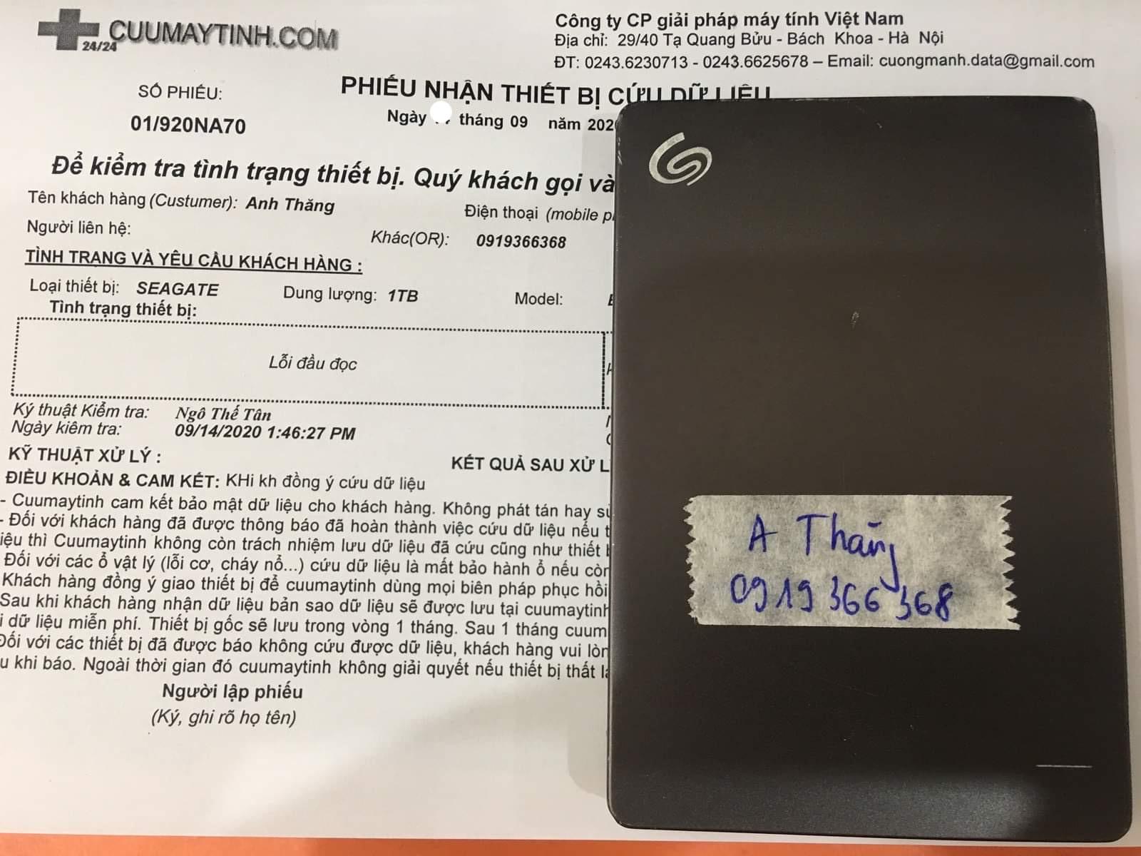 Cứu dữ liệu ổ cứng Seagate 1TB lỗi đầu đọc 21/09/2020 - cuumaytinh