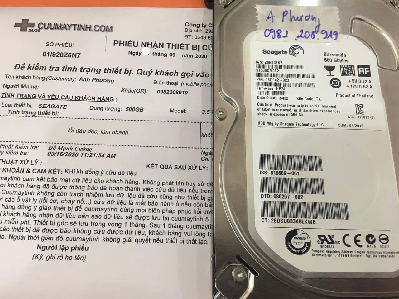 Cứu dữ liệu ổ cứng Seagate 500GB đầu đọc kém 18/09/2020 - cuumaytinh