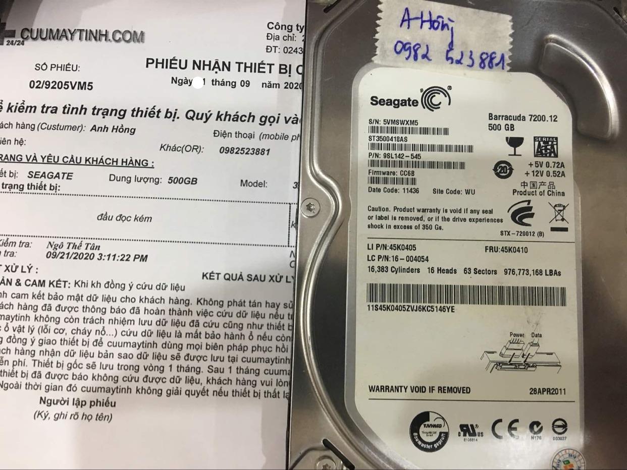 Cứu dữ liệu ổ cứng Seagate 500GB đầu đọc kém 23/09/2020 - cuumaytinh
