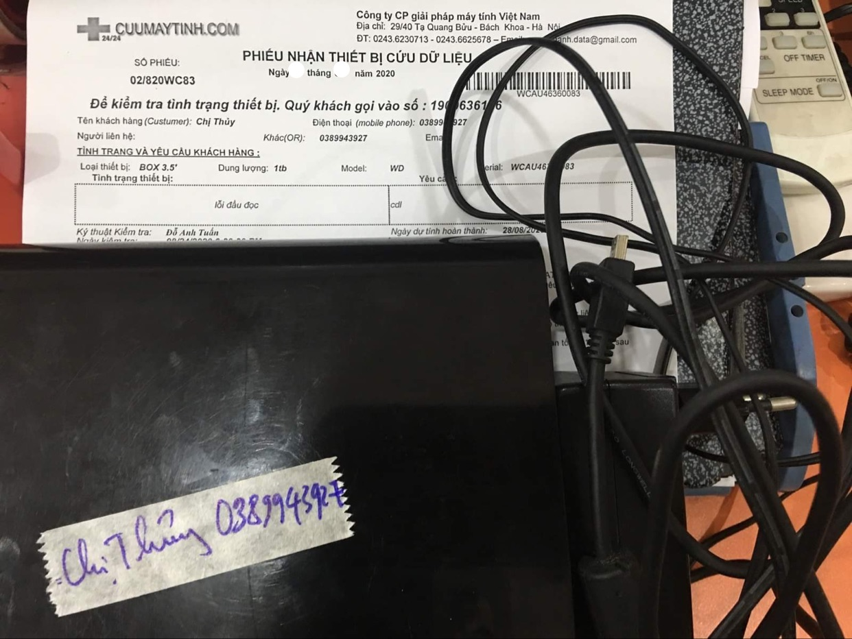 Cứu dữ liệu ổ cứng WD 1TB lỗi cơ 04/09/2020 - cuumaytinh