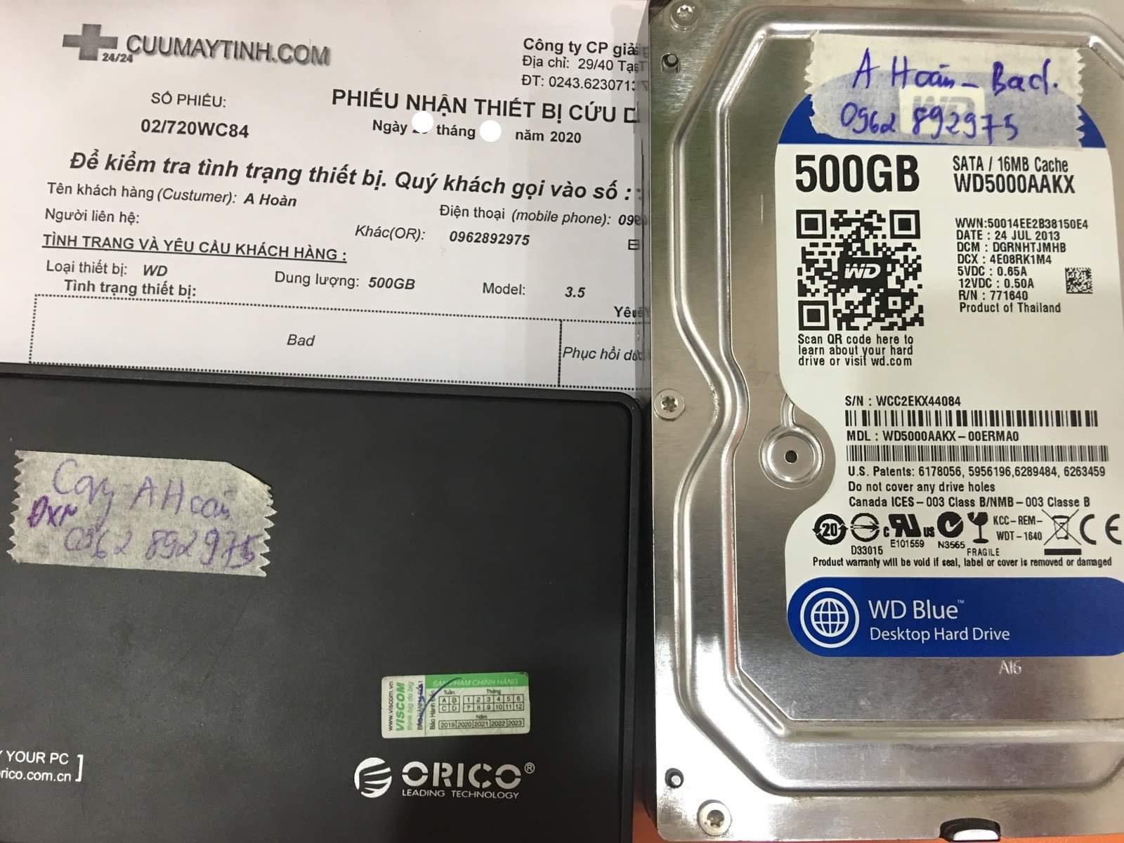 Cứu dữ liệu ổ cứng Western 500GB bad 31/08/2020  - cuumaytinh