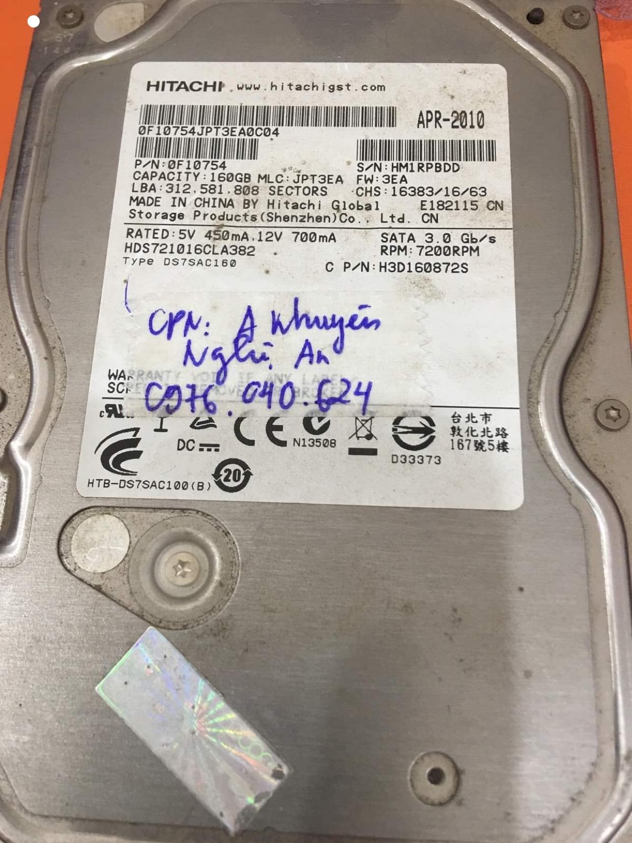 Khôi phục dữ liệu ổ cứng Hitachi 160GB bad tại Nghệ An 21/09/2020 - cuumaytinh