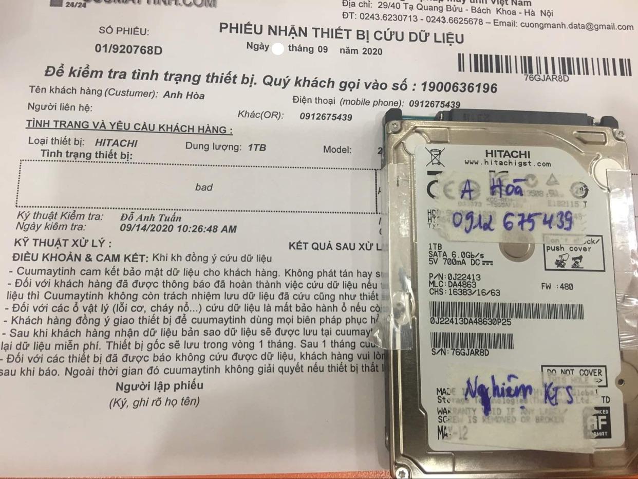 Khôi phục dữ liệu ổ cứng Hitachi 1TB bad 25/09/2020 - cuumaytinh
