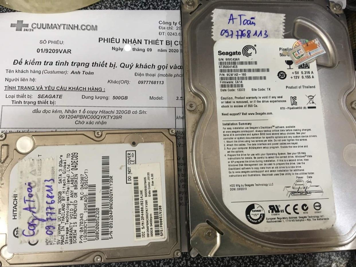 Khôi phục dữ liệu ổ cứng Seagate 500GB đầu đọc kém 11/09/2020 - cuumaytinh