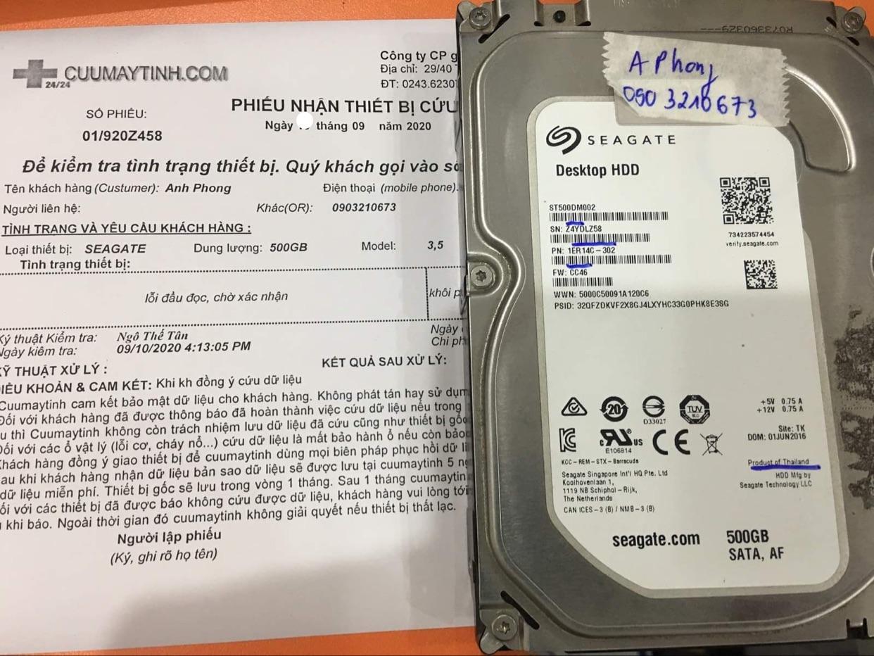 Khôi phục dữ liệu ổ cứng Seagate 500GB lỗi đầu đọc 16/09/2020 - cuumaytinh