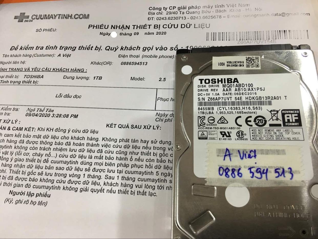 Khôi phục dữ liệu ổ cứng Toshiba 1TB lỗi đầu đọc15/09/2020 - cuumaytinh
