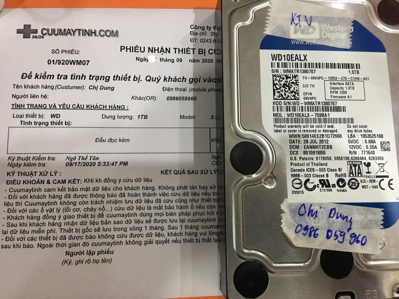 Khôi phục dữ liệu ổ cứng Western 1TB đầu đọc kém 22/09/2020 - cuumaytinh
