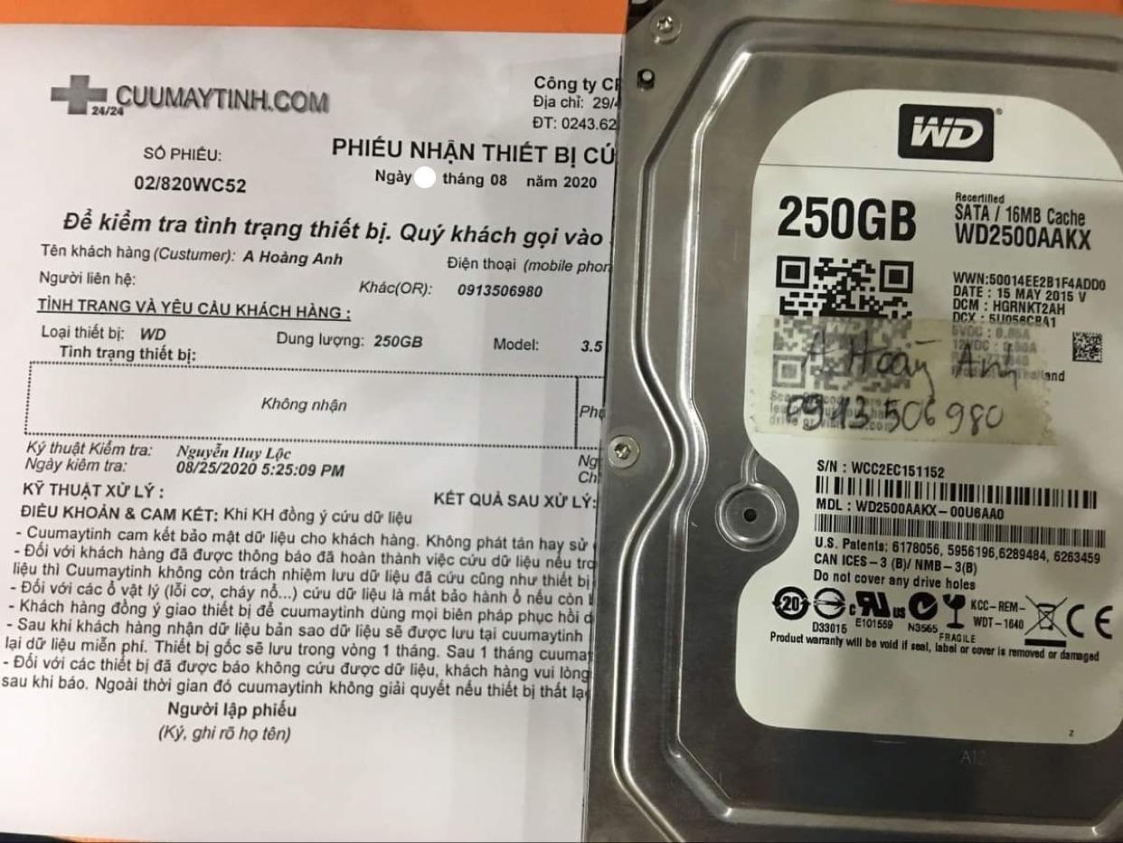 Khôi phục dữ liệu ổ cứng Western 250GB không nhận 31/08/2020 - cuumaytinh