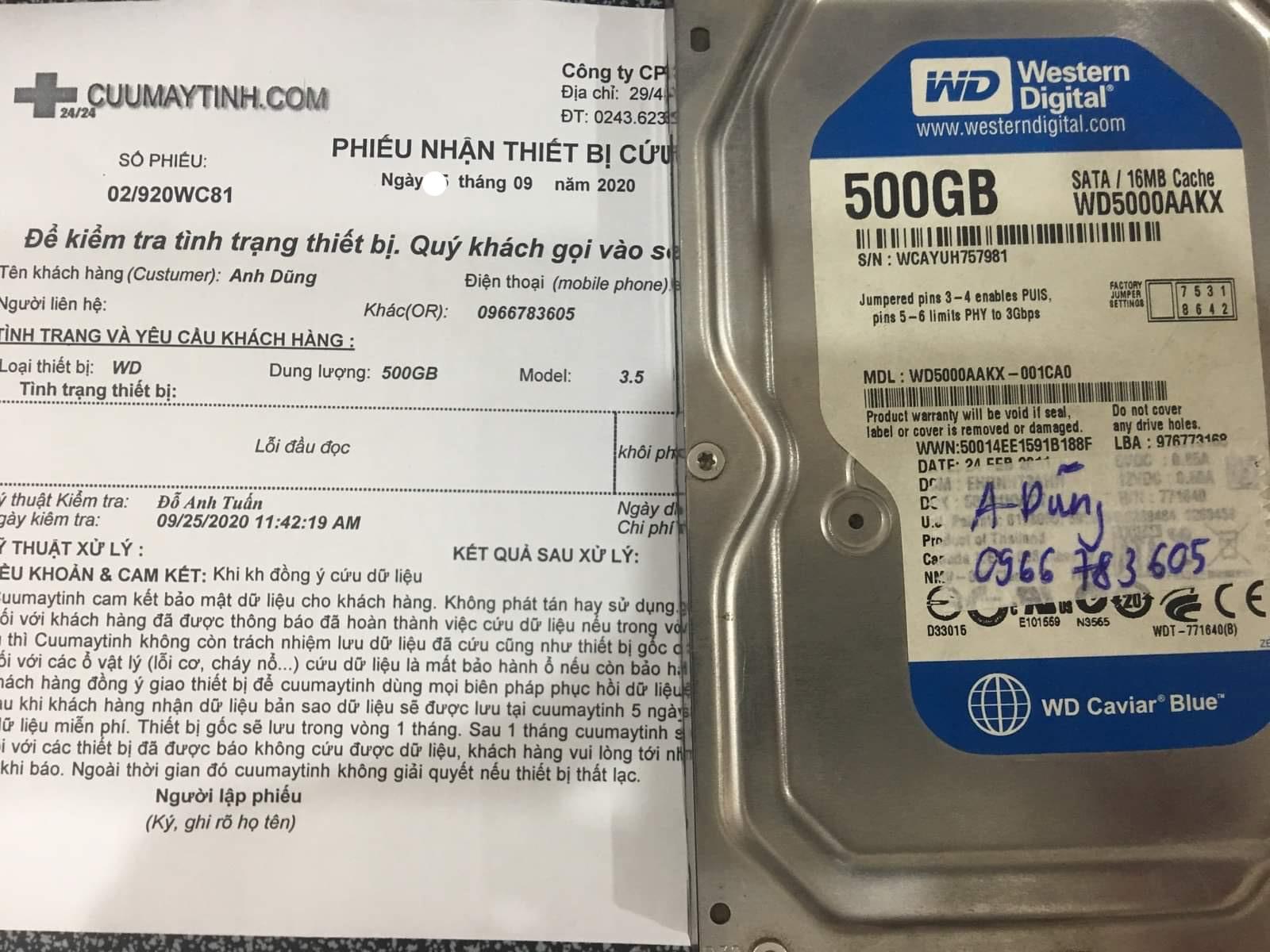Khôi phục dữ liệu ổ cứng Western 500GB lỗi đầu đọc 26/09/2020 - cuumaytinh