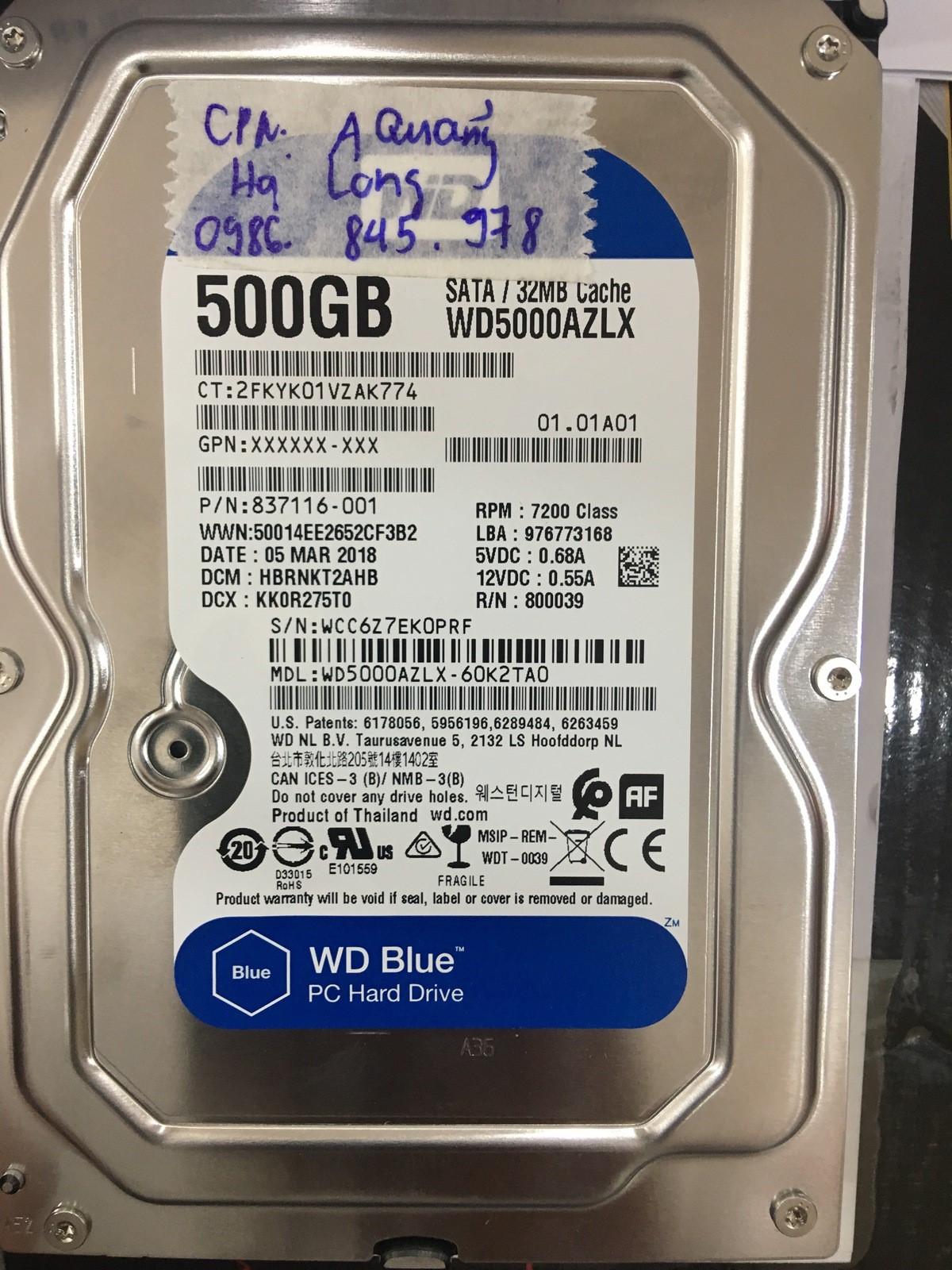 Khôi phục dữ liệu ổ cứng Western 500GB mất dữ liệu tại Quảng Ninh 12/09/2020 - cuumaytinh
