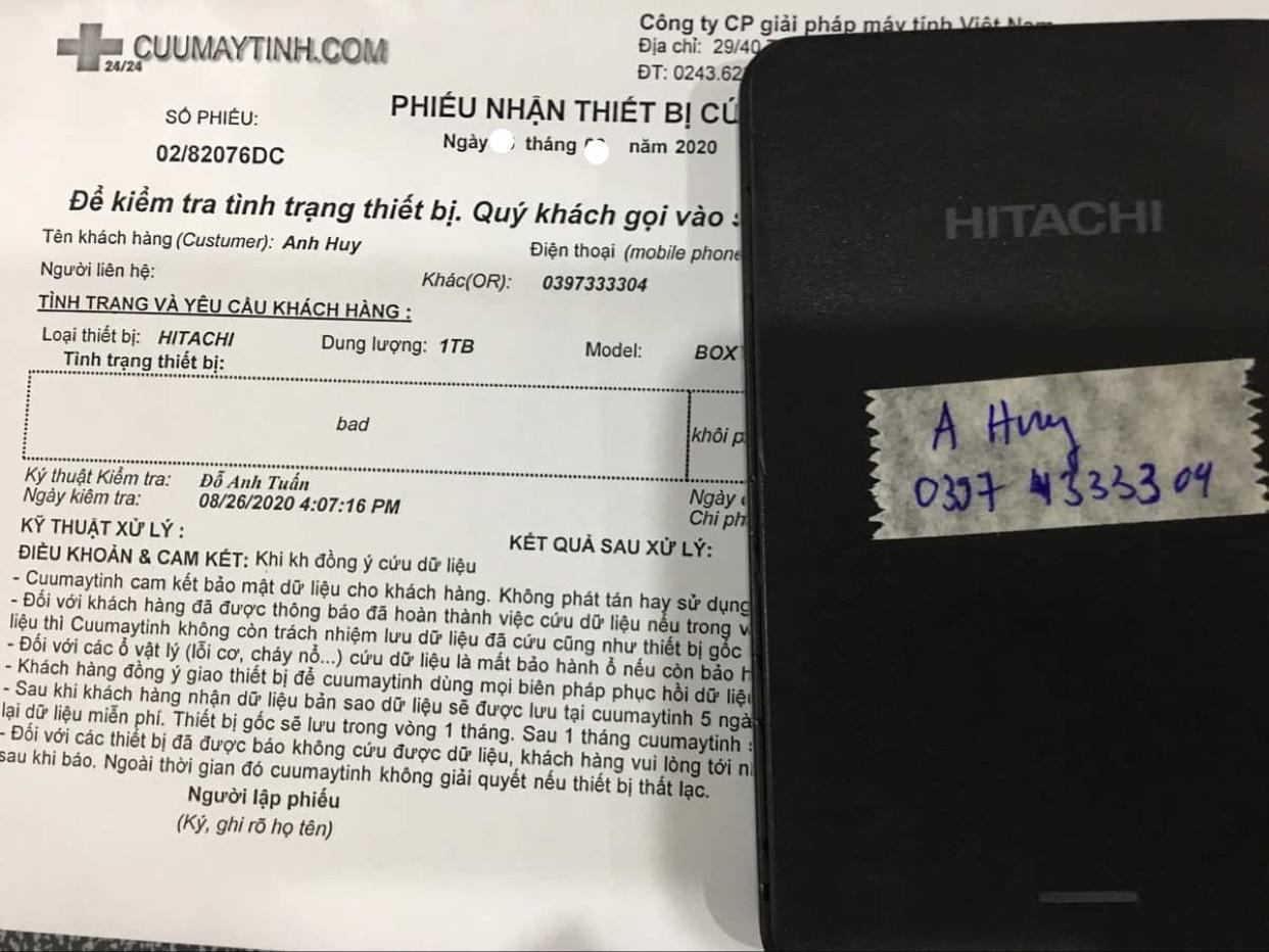 Lấy dữ liệu ổ cứng Hitachi 1TB bad 31/08/2020 - cuumaytinh