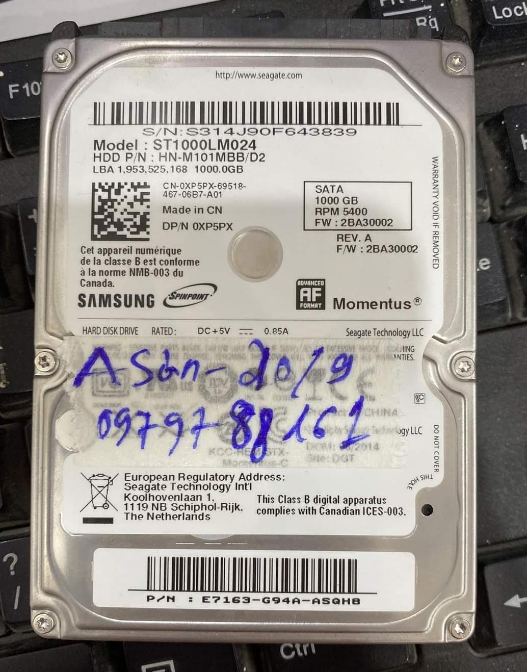 Lấy dữ liệu ổ cứng Samsung 1TB bad 22/09/2020 - cuumaytinh