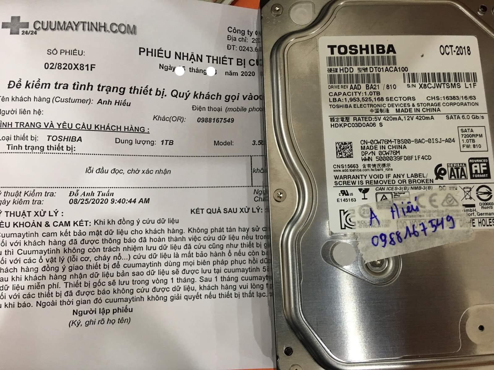 Lấy dữ liệu ổ cứng Toshiba 1TB lỗi đầu đọc 04/09/2020 - cuumaytinh