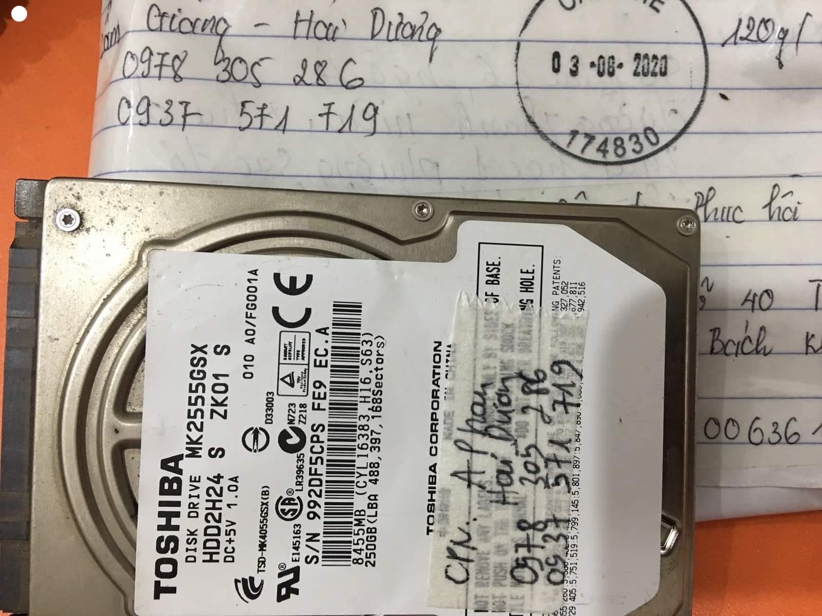 Lấy dữ liệu ổ cứng Toshiba 250GB lỗi cơ tại Hải Dương 18/09/2020 - cuumaytinh