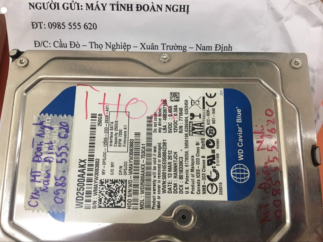 Lấy dữ liệu ổ cứng Western 250GB lỗi đầu đọc tại Nam Định24/09/2020 - cuumaytinh