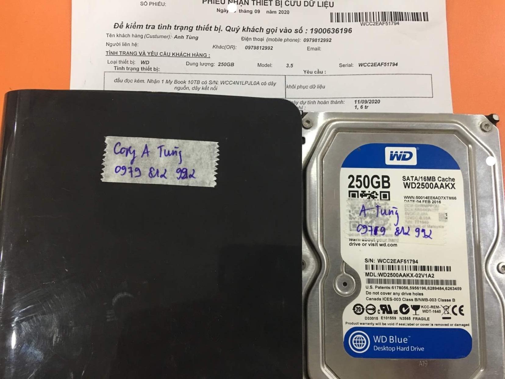 Lấy dữ liệu ổ cứng Western 320GB đầu đọc kém 10/09/2020 - cuumaytinh
