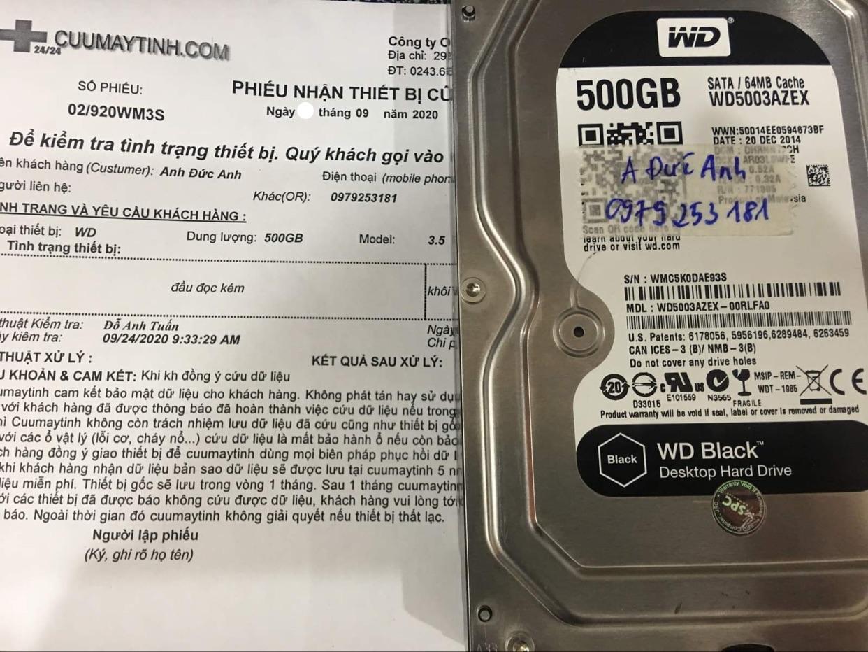 Lấy dữ liệu ổ cứng Western 500GB đầu đọc kém 26/09/2020 - cuumaytinh