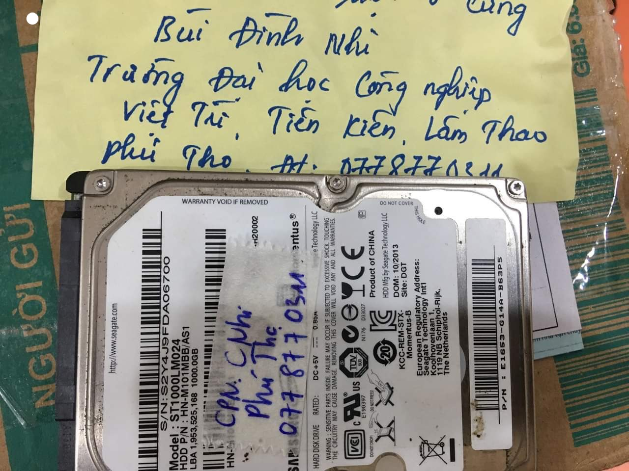 Phục hồi dữ liệu ổ cứng Samsung 1TB bó cơ tại Phú Thọ 21/09/2020 - cuumaytinh