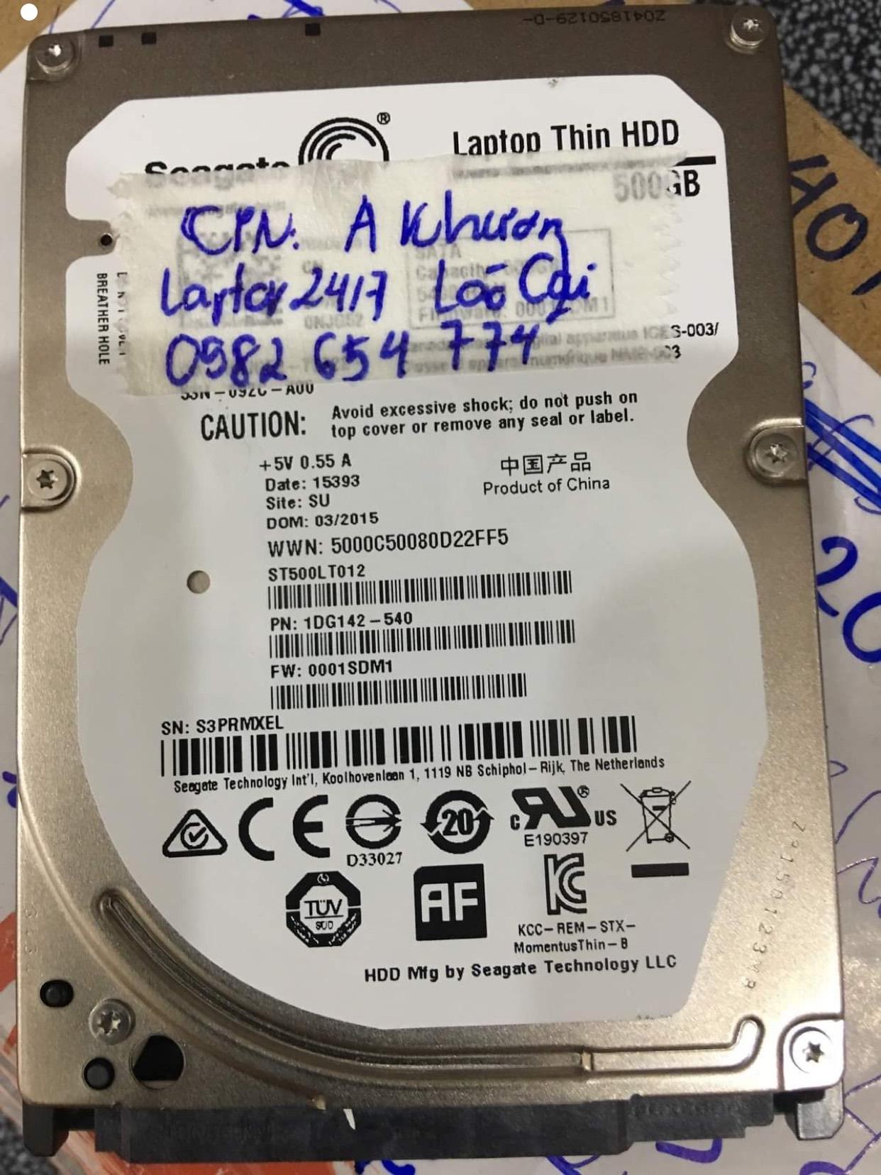 Phục hồi dữ liệu ổ cứng Seagate 500GB format nhầm tại Lào Cai18/09/2020 - cuumaytinh