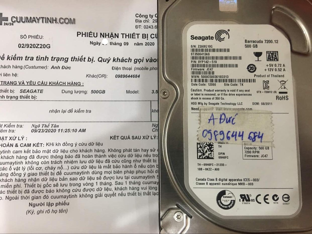 Phục hồi dữ liệu ổ cứng Seagate 500GB không nhận 22/09/2020 - cuumaytinh