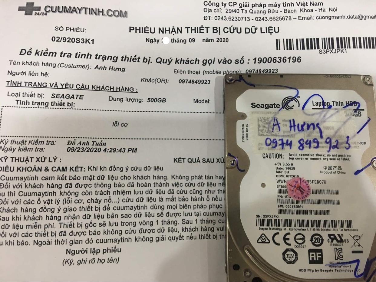 Phục hồi dữ liệu ổ cứng Seagate 500GB lỗi cơ 26/09/2020 - cuumaytinh