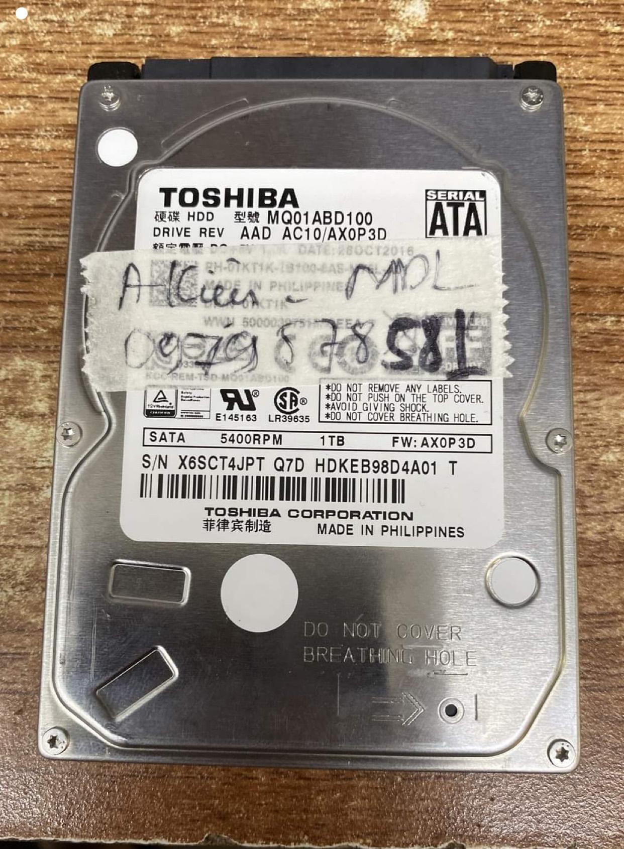 Phục hồi dữ liệu ổ cứng Toshiba 1TB mất dữ liệu 29/08/2020 - cuumaytinh