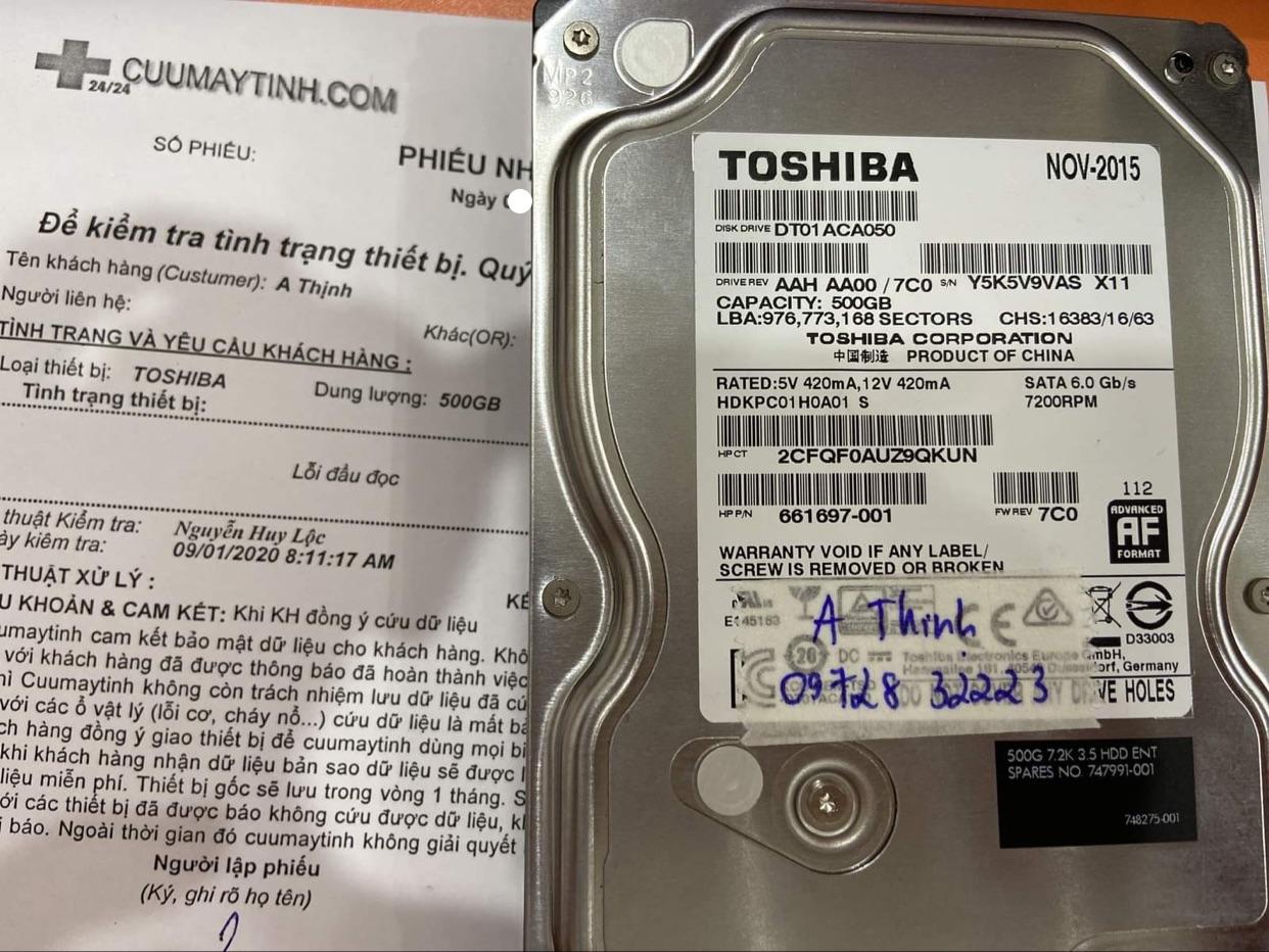 Phục hồi dữ liệu ổ cứng Toshiba 500GB lỗi đầu đọc 04/09/2020 - cuumaytinh