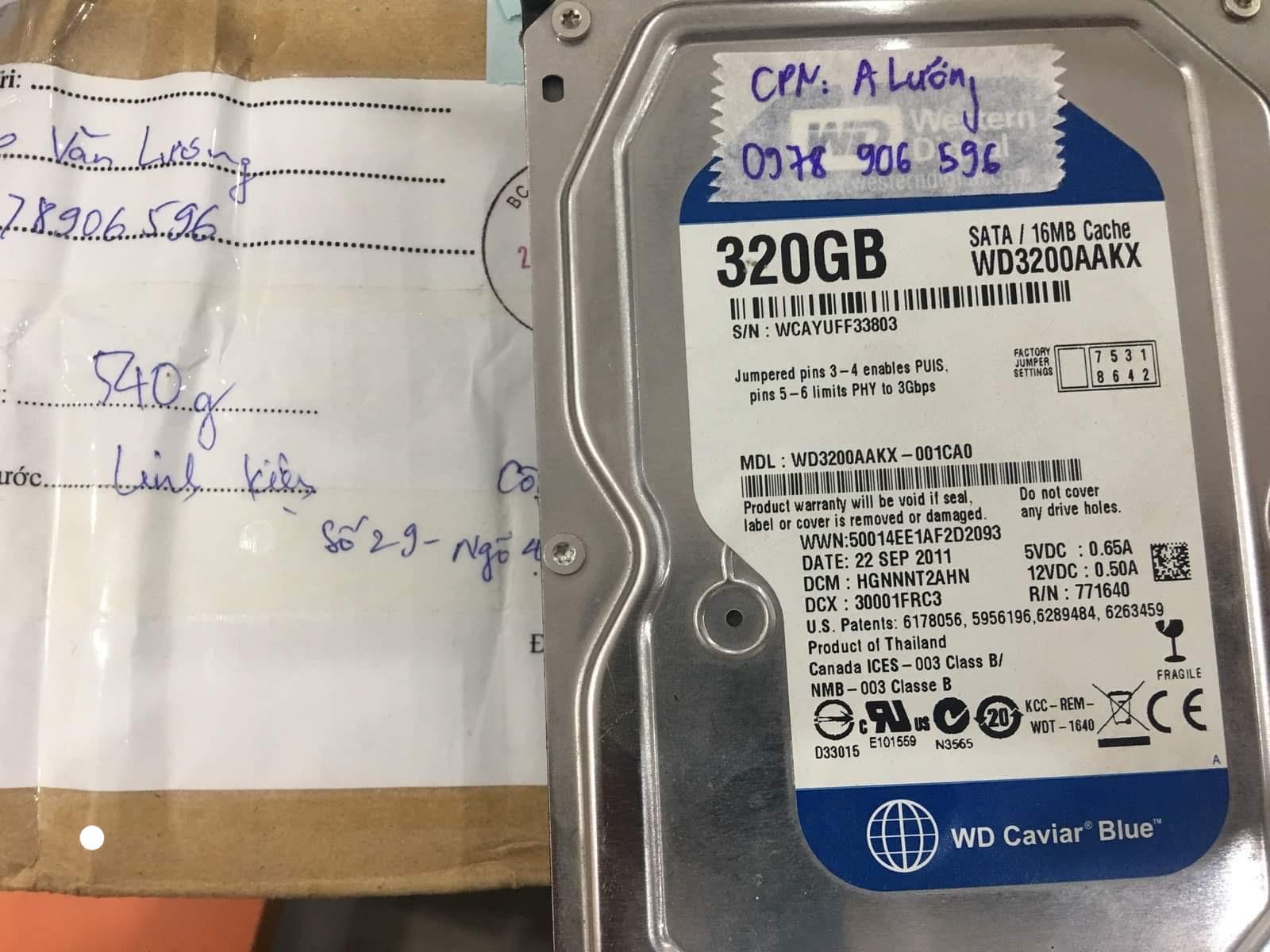 Phục hồi dữ liệu ổ cứng Western 320GB lỗi đầu đọc tại Hải Phòng 03/09/2020 - cuumaytinh