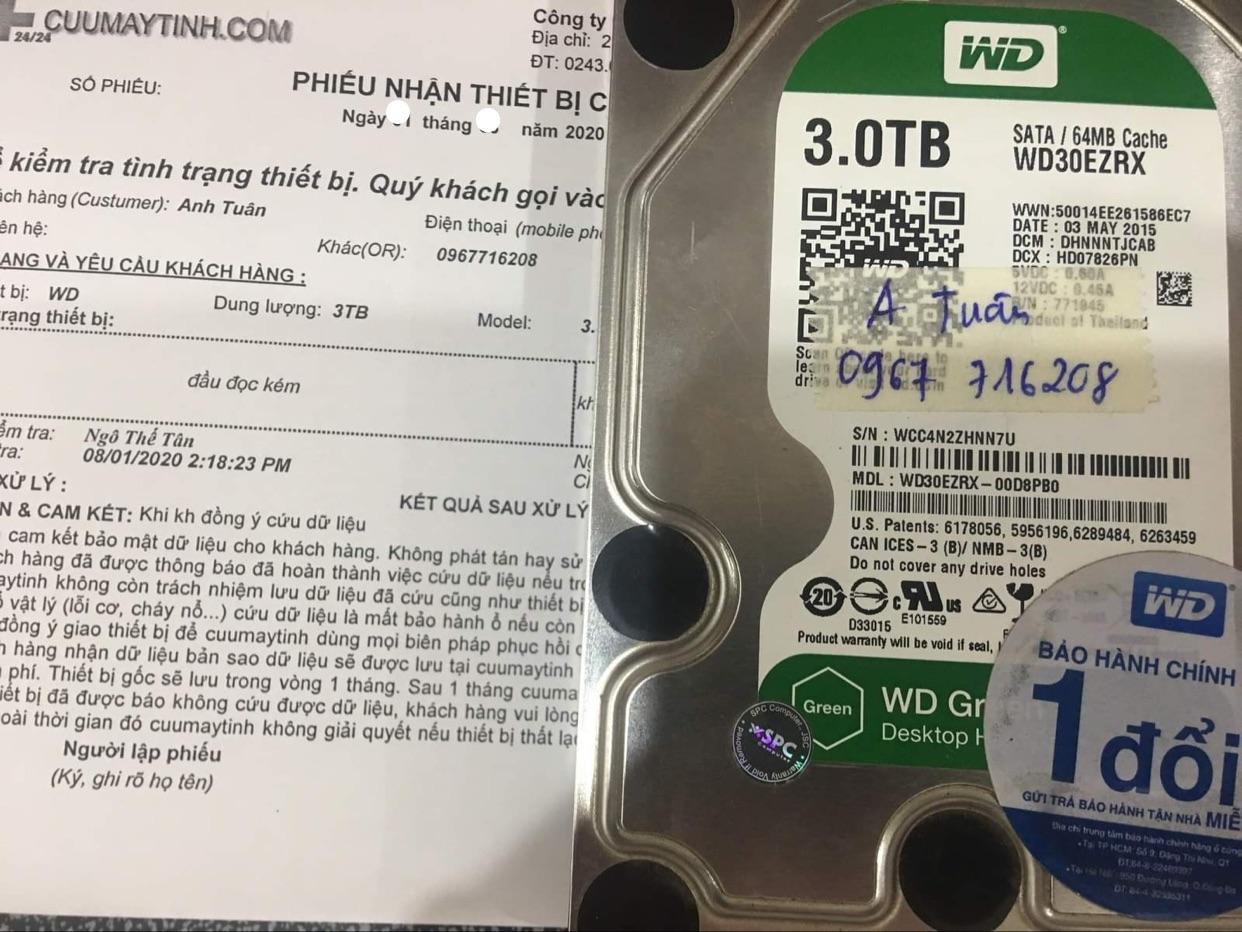 Phục hồi dữ liệu ổ cứng Western 3TB đầu đọc kém 16/09/2020 - cuumaytinh