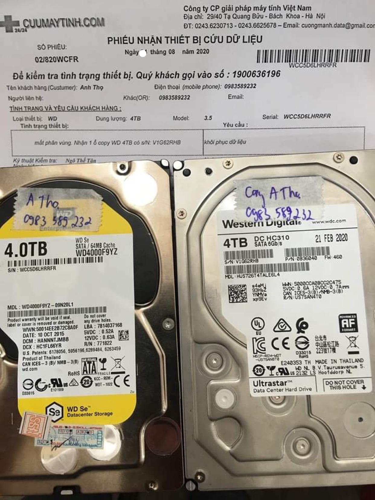 Phục hồi dữ liệu ổ cứng Western 4TB mất phân vùng 28/08/2020 - cuumaytinh
