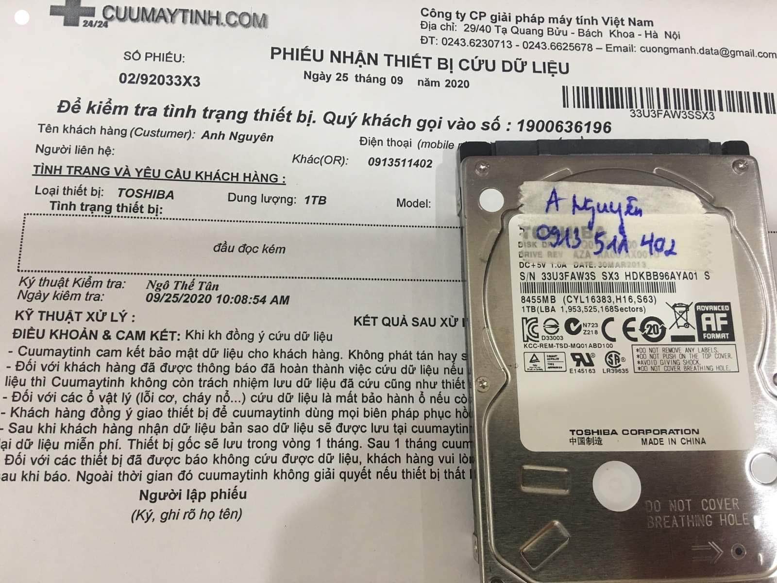 Phục hồi dữ liệu ổ cứng Toshiba 1TB đầu đọc kém 25/09/2020 - cuumaytinh