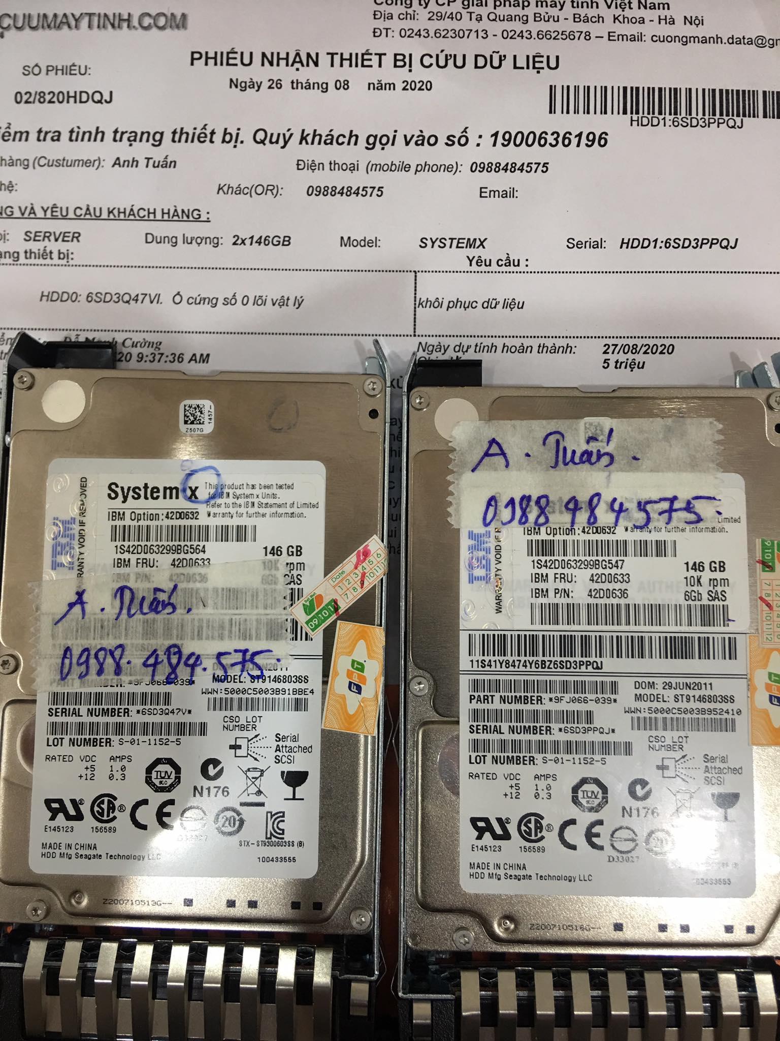Cứu dữ liệu máy chủ SystemX với 2HDDx146GB lỗi 1HDD 26/08/2020 - cuumaytinh